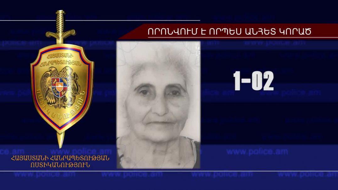 82-ամյա կինը որոնվում է որպես անհետ կորած